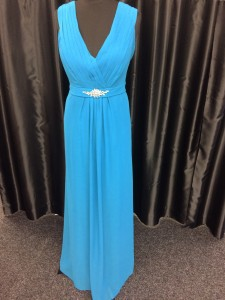 Blue wrap bodice dress