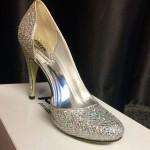 Glossy beige high heels