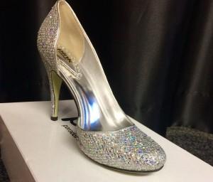 Silver high heels glittery