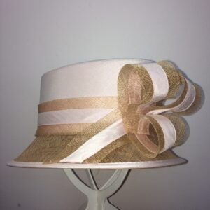 Strawberry and gold bow wedding hat