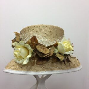 Yellow roses edged wedding hat