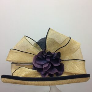 Gold and purple bow weather hat