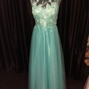 Aqua Lace Bodice Gown