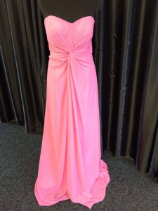 prom evening bridesmaid pink ruched front
