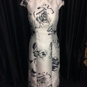 rose print silver dress