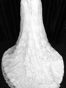 Lacey train wedding dress