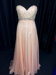 Pink jewelled bodice strapless
