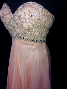 Pink sequined covered bodice dress