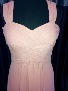 Pink ruched bodice straps