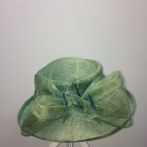Green bow wedding hat