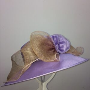 Purple and gold wedding hat