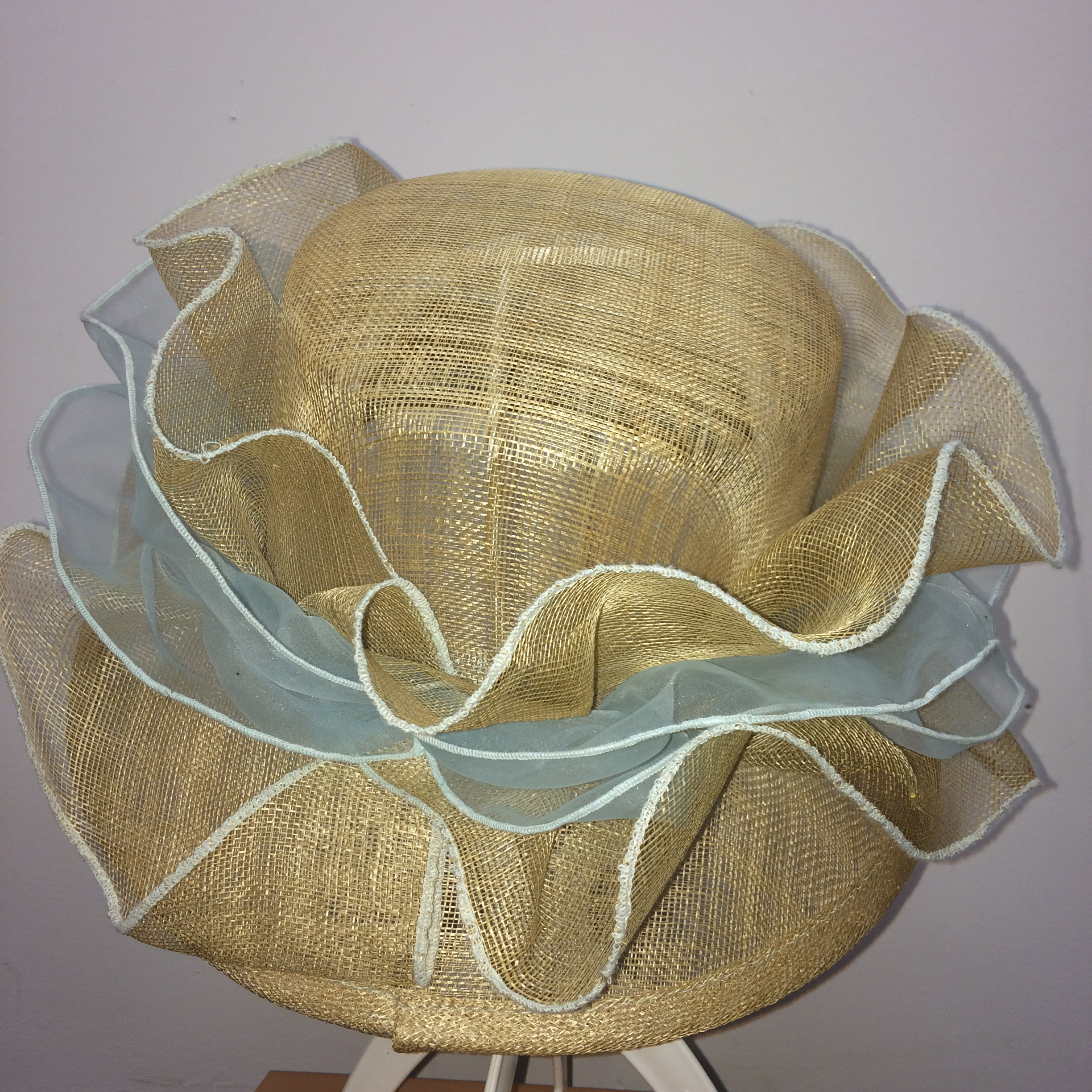 Gold and blue wedding hat