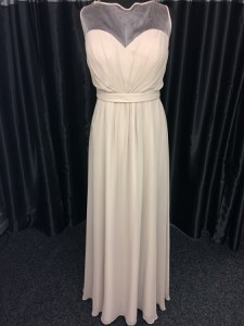 Cream gathered sheer neck gown