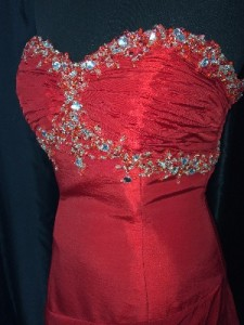 Red sequined bodice dress