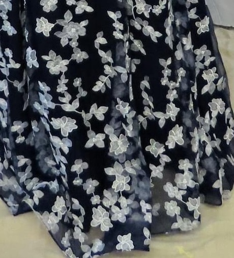 Navy and white floral long dress